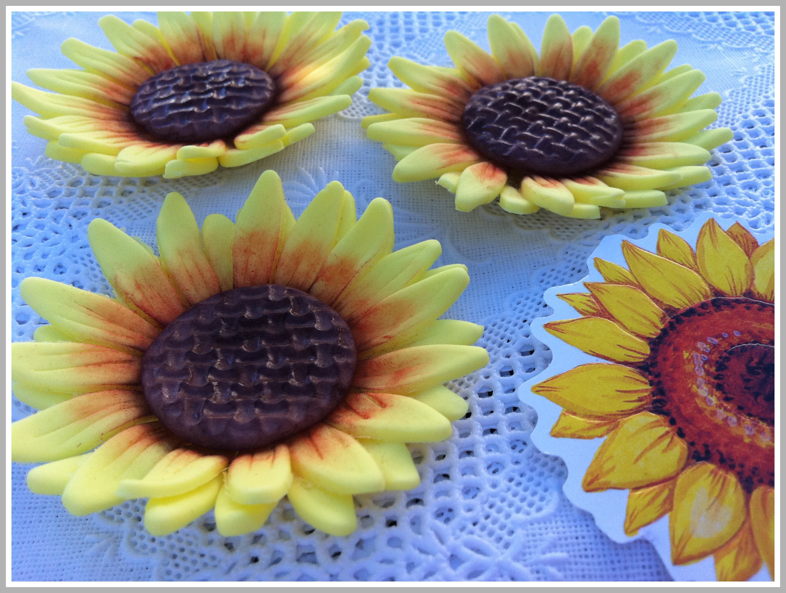 Girasoles de fondant reposter a imaginativa - Pared decorada con fotos ...