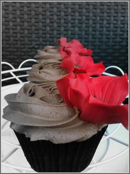 Cupcakes de chocolate vainilla y frambuesa