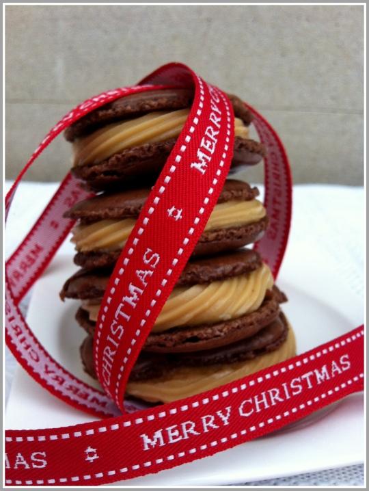 Macarons de chocolate con turrón de Jijona
