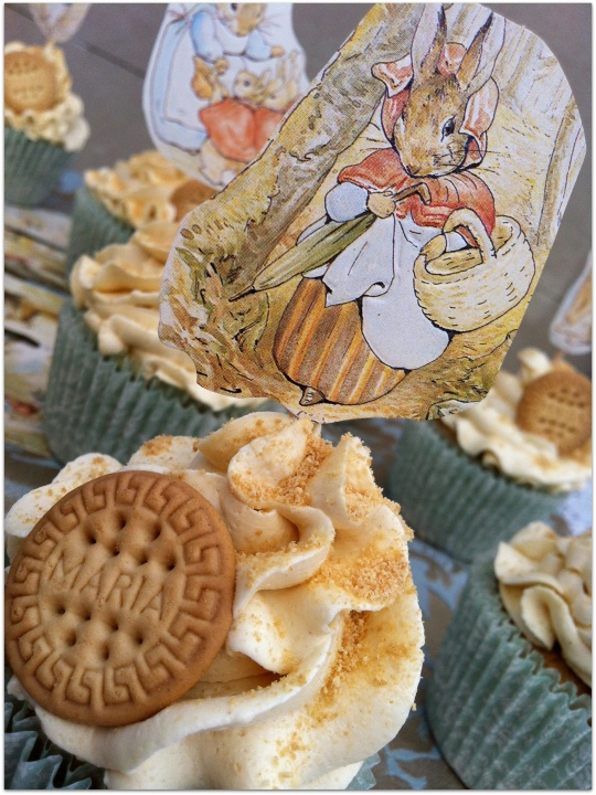 Cupcakes Beatrix Potter de galleta