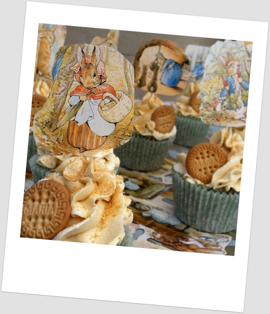 Cupcakes de galleta maría con Beatrix Potter