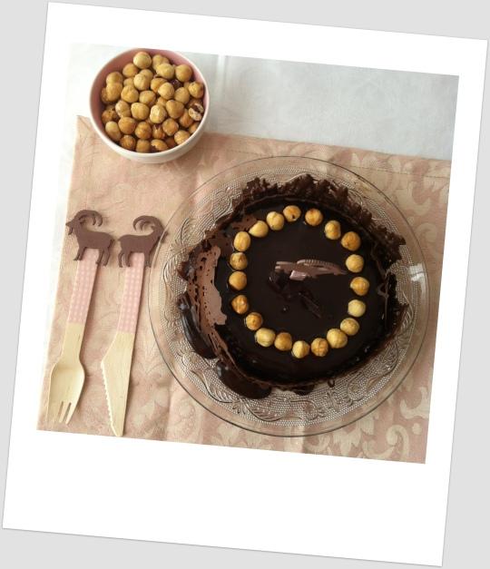 Tarta de chocolate con avellanas, nutella o nocilla
