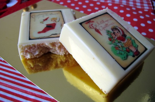 Turrón chocolate blanco choco transfer navideños