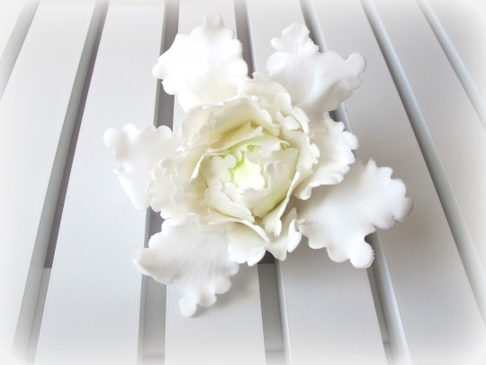Peonia flor de fondant modelada