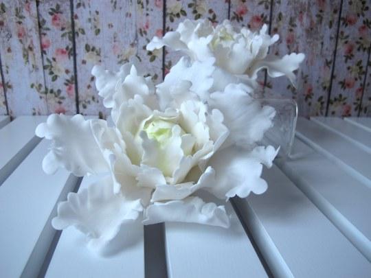 peonía cerrada de pasta de azúcar flores