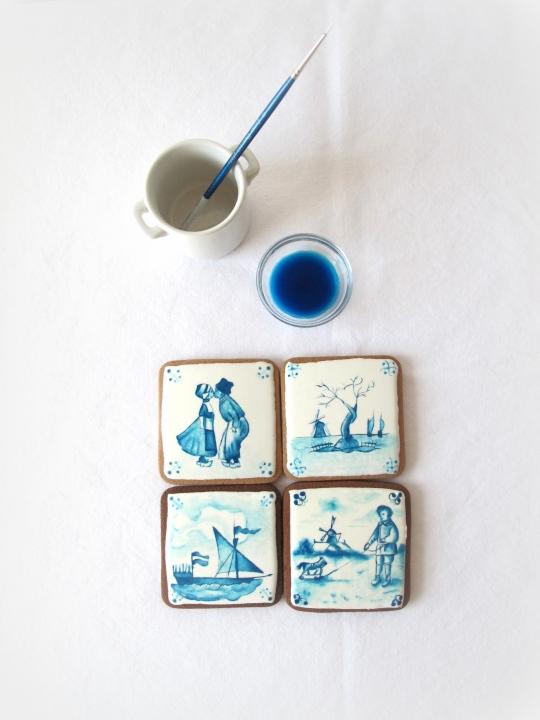 Galletas pintadas con pinturas comestibles ceramica Delft