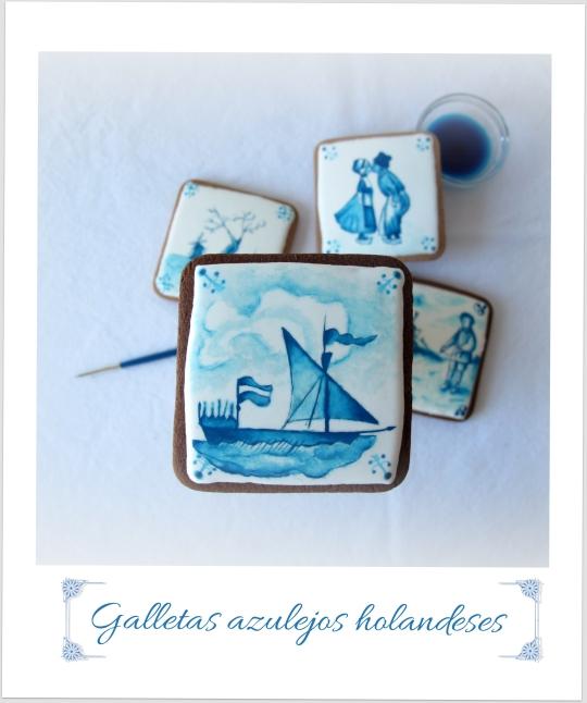 Galletas decoradas pintadas azulejos holandeses