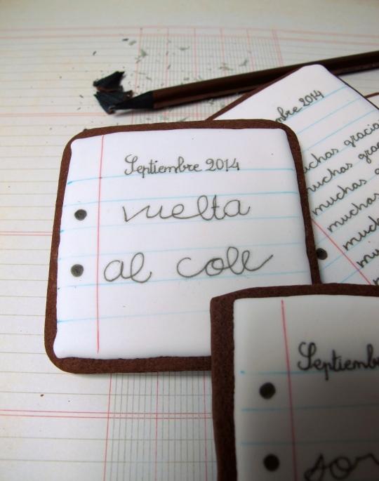 Galletas decoradas cuaderno pintadas vuelta al cole